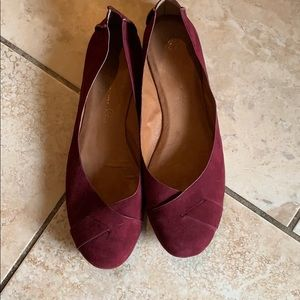 BC suede maroon flats size 9